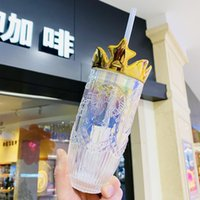 Hot New Starbucks Valentine's Day dazzle colour Crown glass straw cup 430ML Relief Mermaid logo Coffee mug 18oz Ice cup