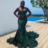 Dark Green Mermaid Prom Evening Dresses One Shoulder Sequins Celebrity Gowns Plus Size Womens Speical Occasion Dress