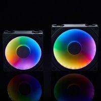 Electric Fans 120mm 140mm RGB Colorful LED Rainbow Color Fan Halos Aperture For 12 14cm Synchronous Motherboard Light Control Drop Ship