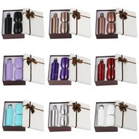 12 أوقية 3 قطعة / المجموعة هدية النبيذ بهلوان مجموعة الفولاذ المقاوم للصدأ جدار مزدوج معزول مع واحد 500 مل زجاجة نبيذ بهلوان