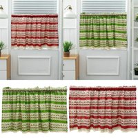 Curtain & Drapes Christmas Short Curtains For Living Room Blackout Window Screen Kitchen Bedroom Home Decoration