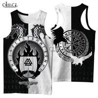 Cloocl 바이킹 기호 문신 까마귀 3D 인쇄 남성 셔츠 하라주쿠 패션 여름 streetwear 유니섹스 탱크 탑 드롭 배송