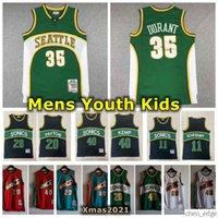 Retro Mens Seattle 1995-96 Mitchell Ness Swingman Jersey Costurado 35 Kevin Durant 40 Shawn Kemp 20 Gary Payton Jersey