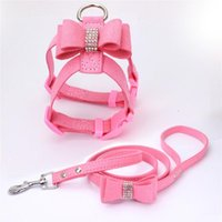 Dog Collars & Leashes Adjustable Drilling Bow Pet Chest Strap Cat Leash Rope Set Small Collar Back Supplies