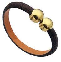Braccialetto di lusso rotondo Bracciali in vera pelle in vera pelle con oro fibbia rotonda donne braccialetto braccialetto fiore stampa fiore Pulseira marchio denominato gioielli