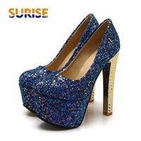 Big Size Silver Wedding Party Women Platform Pompe Pompe 15 cm Super High Chunky Heel Black Glitter Panno paillettes Sexy Shoes Sexy Shoed Shoes 210610