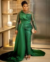 2021 Plus Size Arabic Aso Ebi Green Lace Sexy Prom Dresses Sheer Neck Long Sleeves Sequined Evening Formal Party Second Reception Gowns Dress ZJ253