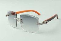 2021 diseñadores Diamantes infinitos Gafas de sol 3524022, lentes de corte Gafas de madera híbridas naturales, Tamaño: 58-18-135mm