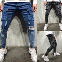Gestapelter Designer Herren Jeans Harajuku Löcher gewaschen mittlere Taille Slim Jeans für Mann Casual Homme Jeans mit Taschen