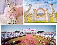 25*100cm Flower Rows Wedding Road Lead Flowers Long Table Centerpieces Arch Door Silk Rose Party Backdrops Decor Decorative & Wreaths