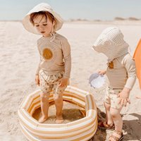 طفل بنات ملابس سباحة قطعتين مع قبعات طفل رضيع الصبي ملابس السباحة الطفل الصيف شاطئ ارتداء الأخوات السباحة المايوه