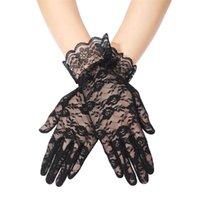 Свадебные перчатки Черная Свадьба Полный палец вождения короткие кружева для наружных женщин невесты аксессуары