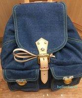 Новейший дизайнер Backpack Bag женский знаменитый бренд старинные джинсовые рюкзаки мужчины коровьей красующей ободок лоскутное рюкзак ручка сумочка