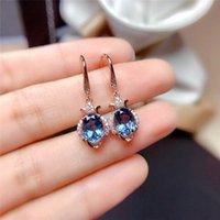 Dangle & Chandelier Dainty Rose Gold Silver Color Wedding Earrings Cute Oval Small Stone Drop Blue Crystal Zircon For Women
