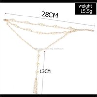 Body Jewelryboho Gold Cute Anklet & Bracelet Imitation Pearl Multilayer Chain Ankle Braclet For Women Summer Beach Jewelry Barefoot Sandals