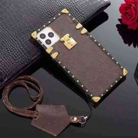 Caso de iPhone de diseño de lujo móvil para 12 Pro Max Mini 11 XR XS 7/8 PLUS PU Top Fashion Fashion Carcasinas (con caja) SB70I
