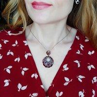 Балет GEM круглый натуральный гранат драгоценные камни стерлингового плитка стерлингового плитка 925 стерлингов Винтажное ожерелье для женской жены подарок изысканные украшения 210319