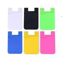 Party Favor Phone Card Holder Silicone Wallet Case Credit ID Cards Holders Pocket Stick On 3M Adhesive with OPP bag NHD6669