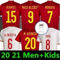 2021 إسبانيا الرئيسية Somcer Jersey 20 21 Ferran Asensio Morata ISCO Iniesta Paco Alcacer Saul Xavi Raul Football Man + Kids Kit Shirts