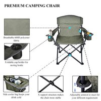 US-Lager übergroßer Campingstuhl mit kühlerer Beutel Faltenragable Stuhl Stahlrahmen ausklappbarer Träger 350 lbs Nettogewicht 11LB für Angelstrand Partys Picknicks