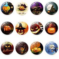 Halloween Fridge Magnets Witch Pumpkin Bat Glass Glue Sign Pattern Dome Glass Fridge Magnet Home halloween Deco Free DHL