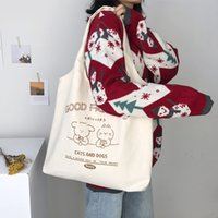 HBP fashion lady shopping bag large capacity all-match canvas shoulder bag trend student school bags-