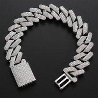 20mm Diamond Miami Prong Cuban Link Chain Bracelets 14k White Gold Iced Icy Cubic Zirconia Jewelry 8inch 9inch Cuban Bracelet