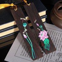 Alta qualità stile cinese retrò ebano segnalibri in legno dipinto dipinto loto tassel cancelleria forniture artigianato regalo segnalibro