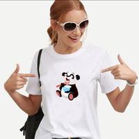 Women's T-Shirt T Shirts Woman Cartoon Panda Eat Rice Cute Design Men Superpanda Tshirt Children Animal Icecream Top Tees
