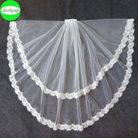 Bridal Veils Short Wedding Bride Veil 2021 Two Layer Voile Mariage Welon Slubny Lace Edge Velo De Novia Sposa Weeding Accessoire Metal Comb