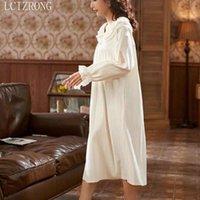 Retro Prenses kadın Gecelik Yaz Dantel Uzun Gecelikler Kız Vintage Ev Giyim Gecelik Kadın 2021 Bahar Pijama1