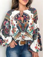 Women's Blouses & Shirts Custom sleeve shirt flashlight and round neck, fingerprint for women, spring QM84