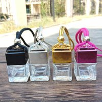Cube Hollow Car Perfume Diffuser Bottle Rearview Ornament Hanging Air Freshener For Essential Oils Diffusers Fragrance Empty Glass Pendant HH7-1827