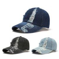 Party Hats Men's spring summer European and American fashion hole baseball cap denim caps ladies outdoor sun hat