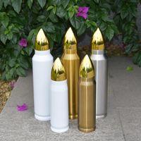 17 oz 34 oz Süblimasyon Tumbler Boşlukları Beyaz Bullet Şişe Paslanmaz Çelik Seyahat Kupalar Özelleştirilmiş DIY Çift Yalıtımlı Şişeler Toplu Toptan 3 Renk