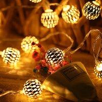 5M 40 LED String Fairy Light Morocco ball lamp iron creative Hollow Metal Globe Waterproof Christmas tree Wedding Decoration Party Lighting shop store home Decor