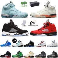 Nike Air Jordan Retro 5 off white Jordan 5 5s مع صندوق أحذية كرة السلة للرجال Jumpman Fire Red Raging Bull Oregon Ducks أحذية رياضية للمدربين من العنب البديل