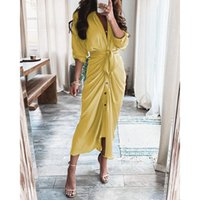 Casual Dresses Shirt Dress Fashion Elegant Ladies Collar Draped Party Clothes Woman Button Belt Irregular Long