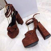 Designer Luxury Ladies Bianca Brown Suede Ankle Strap Sandals Heel Platform Sandal Slippers With Box