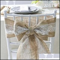 Ers Sashes Textiles & Gardensashes Vintage Jute Burlaps With Lace Roll For Wedding Decoration In Table Runner Party Chair Home Drop Delivery