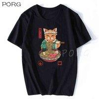 Neko Ramen Japón Cat Anime T Shirt Hombres De Alta Calidad De Algodón Estética Cool Vintage Camiseta Harajuku Streetwear CAMISETAS HOMBRE 210707