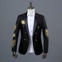 Men's Suits & Blazers Fashion Blazer Dress Double Breasted Groom Wedding Suit Korean Gold Embroidery Men Americanas Para Hombre De Vestir