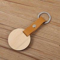 Natürlicher Holz Chip Keychain Anhänger Personalisierte PU-Leder Schlüsselanhänger Gepäckdekoration Schlüsselanhänger Kreatives Schlüsselring Geschenk HWF7251