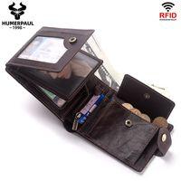 RFID Real Pelle Portafoglio in pelle Tre piega Multi Card Posizione Anti Anti Tape Specchio Finestra ID Cambio da uomo Borsa da uomo