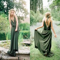 Bohemian Style Country Bridesmaid Dresses 2021 Spring New Spaghetti Low Cut Back Olive Green Chiffon Maid Of Honor Wedding Dresses Cheap