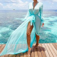 Women Chiffon Kimono Beach Cover Up Long Dress Tunic Pareos Bikinis Ups Female Swimsuit Robe Plage Beachwear Women's Swimwear