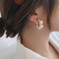Hoop & Huggie Elegant Celebrity Metal Inlaid Pearl Earrings For Woman Fashion Jewelry Wedding Party Girl's