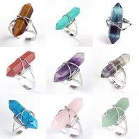 Hexagonal Prism Ring Gemstone Rock Natural Crystal Quartz Healing Point Chakra Stone Charms Opening Rings for women men