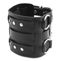 Mens Leather Wide Triple Strap Cuff Wrap Gauntlet Wristband Buckle Fastening Arm Armor Bangle