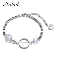 Charm Bracelets Ab Color Clear Square Cube Crystals Circle Acrylic Chain Link Five Luxury Designer Charms For Jewelry